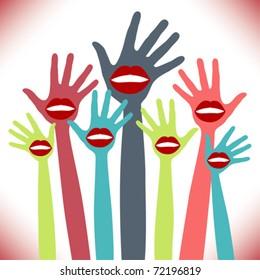 Lip hands party design.