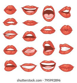 Lip kiss vector cartoon smile and beautiful red lips or fashion lipstick and sexy mouth kissing lovely on valentines day set illustration isolated on white background