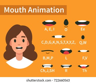 Lip sync collection for animation. Flat style vector illustration.