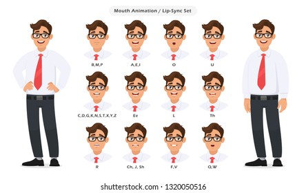 Lip sync collection and sound pronunciation for male character's talking/speaking animation. Set of the mouth animation pronouncing words for standing businessman poses in white background.