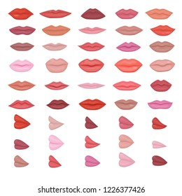 Lip vector beautiful red lips makeup in kiss smile or fashion girls lipstick and sexy mouth kissing lovely on valentines day set illustration isolated on white background