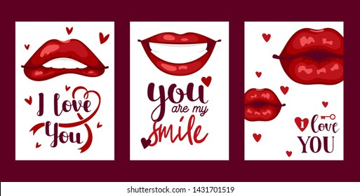Lip vector pattern cartoon beautiful red lips in kiss or smile fashion lipstick sexy mouth kissing lovely on valentines day illustration set background love heart backdrop.