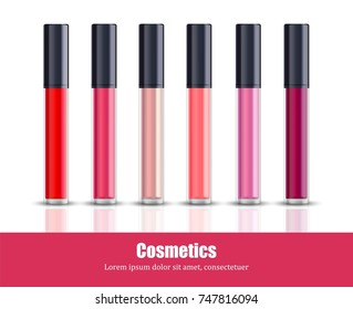 Lipgloss beauty collection icons template vector. Cosmetics package