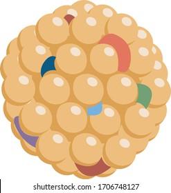 Lipid molecule of cholesterol, microscopic molecule icon
