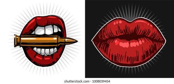 Lips with bullet. Vector illustration