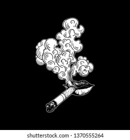 Lips with cigarette exhaling smoke. Vector illustration. Tobacco. The sketch of the Smoking process. Smoldering cigarette. Cloud of smoke, poster or tattoo.