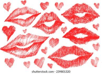 lips close up, sketch