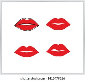 Lips icon. four sexy red lips icon