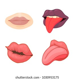 Lips icon set. Cartoon set of lips vector icons for web design isolated on white background