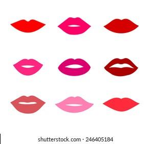 Lips icons shape set vector