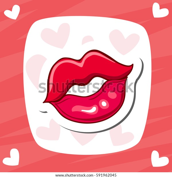 Lips Kiss Vector Patch Sticker Cool Stock Image Download Now