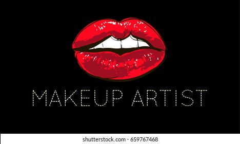 Lips logo design. Concept of a business card for make-up artist, make-up studio and beauty studio. Woman lips On a black background. Business card.