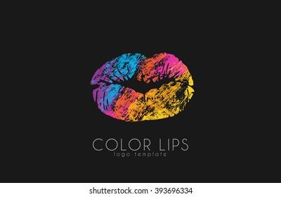 Lips logo design/ Woman lips. Color lips. Beautiful lips.