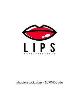 Lips logo vector. Lips logo template