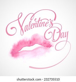 Lips painted in watercolor. Vector illustration