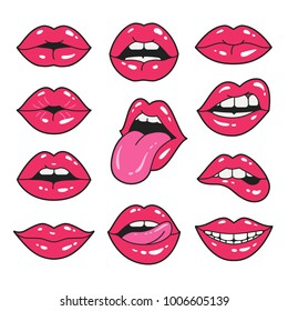 Lips patch collection. Vector illustration of sexy doodle woman's lips expressing different emotions, such as smile, kiss, half-open mouth, biting lip, lip licking, tongue out. Isolated on white.