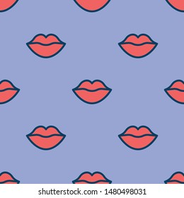 Lips pattern. Vector seamless pattern with woman's red sexy lips on purple background