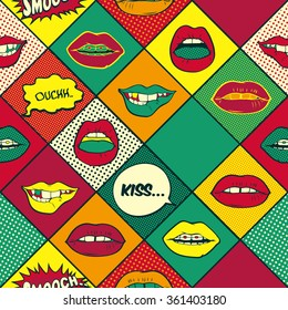 Lips pop art seamless pattern