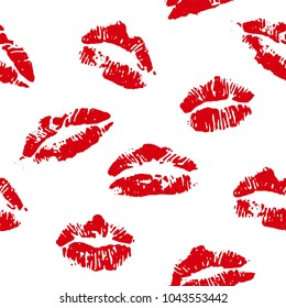 lips print red seamless vector background