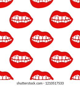 lips seamless doodle pattern