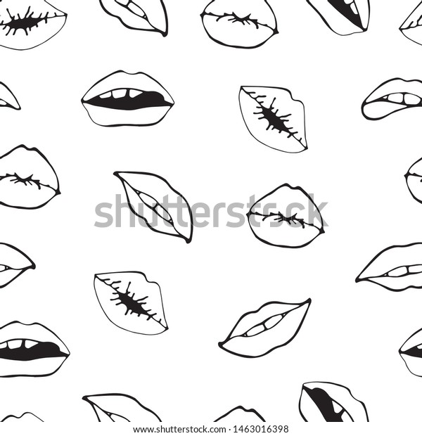 Lips Seamless Pattern Cosmetics Makeup Seamless Stock Vector Royalty Free 1463016398