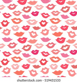 Lips seamless pattern.Red,pink lips,smiles background for paper design,gift wrapping paper,fabric,any surface design.Fashion,beauty design.