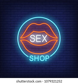 Lips with Sex Shop lettering in circle. Neon sign on brick background. Store, electric sign, nightclub. Erotica concept. For topics like entertainment, love, business
