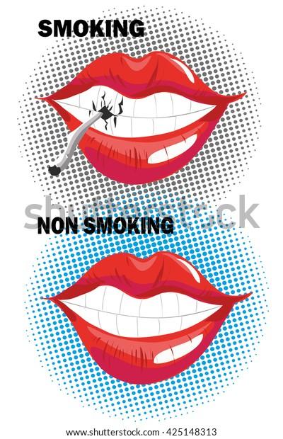 Lips Teeth Smoking Non Smoking Mouth Stock Vector (Royalty