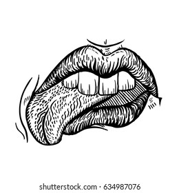 Lips with tongue in engraved style