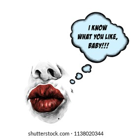 lips tube in the shape of a kiss with a nose from them is a cloud in the form of a dialog box and it says sexy picture, sketch vector graphics color illustration on a white background
