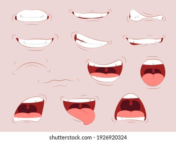 Lips with a variety of emotions. Cartoon cute mouth expressions facial gestures set with pouting lips smiling sticking out tongue