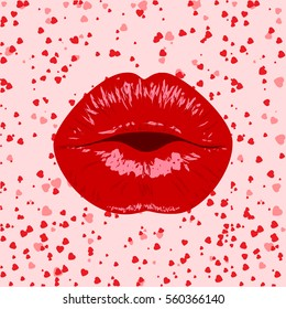Lips women,kiss,mouth,lip pop art heart background.Valentines mothers day logo.Love,sexy,kiss,wedding card,background,banner.kissing sexy lips isolated icon.vector illustration.8 March Women's Day