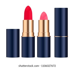 Lipstic cosmetics set with caps open and closed. High quality vector illustration, isolated on white background.
