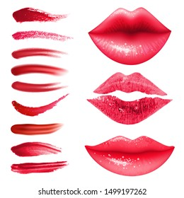 Lipstic smears vector set in realistic style. Red lips collection. Imprint of kiss for beauty design.