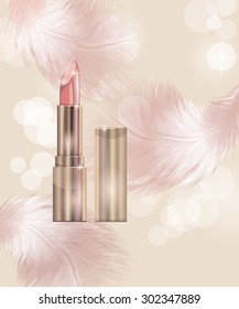 Lipstick. Beauty and cosmetics background. Vector illustration.