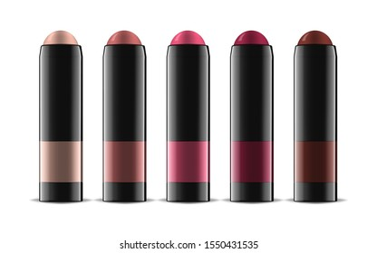 Lipstick or blusher in glossy black tube, realistic vector illustration. Lip or cheek rouge color palette. Trendy makeup product. Easy to recolor.