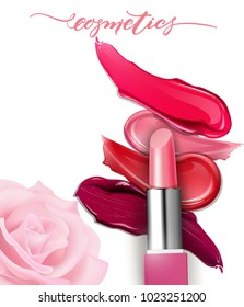 Lipstick closeup and smears lipstick on white background. Cosmetics commercial, beautiful style. Exquisite smear, glamorous magazine, beauty concept. Realistic mockup, vector illustration