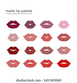 Lipstick color palette. Set of female sexy beautiful lips, pink and red. Make-up and cosmetics. Isolated vector illustration in cartoon style