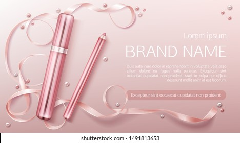 Lipstick cosmetics make up beauty product banner. Rouge and lip liner pencil on pink background with silk ribbon and pearls. Luxury promo poster template for magazine, realistic 3d vector ad banner