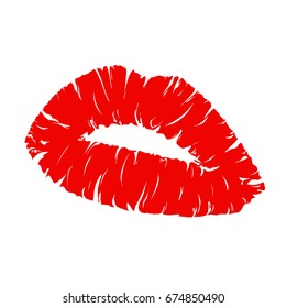lipstick kiss on white background.