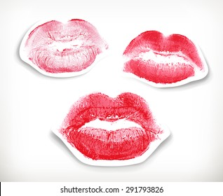 Lipstick kiss in red and pink, isolated on white background, vector stickers