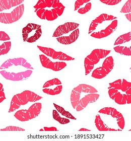 Lipstick kiss seamless pattern. Makeup lips symbols, red and pink kisses silhouettes, valentines day background, beauty and cosmetics texture decor textile, wrapping paper wallpaper vector print