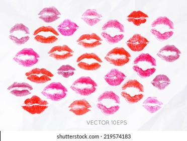 Lipstick kiss signs prints pink and red lettering about love
