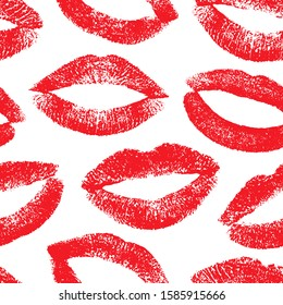 Lipstick kisses. Imprint female lips. Lips traces. Joyful design. Seamless pattern fashion makeup. Romantic kisses. Repeating texture mouth. Endless nice background for design fabric, wrapping, prints