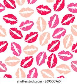 Lipstick kisses seamless pattern - Illustration