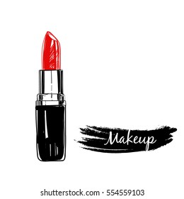 Lipstick. Makeup collection. Vector template.