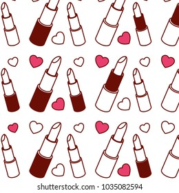 lipstick makeup with hearts pattern background
