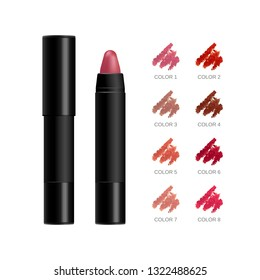 Lipstick package. Cosmetic creamy lipstick pencil in a black plastic vector 3d realistic case isolated on white background with red, pink, nude color swatches, smears set. Mockup for branding and ads.