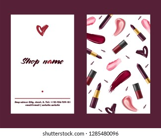 Lipstick pattern vector beautiful red color fashion pink lipgloss lip makeup art illustration backdrop set of shiny liquid female cosmetic background banner