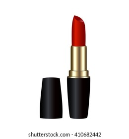 Lipstick red icon beauty salon cosmetics. Red lipstick illustralion. Vector clip art of red lipstic. Make up element, lipstick closeup. Red lipstick isolated on white background